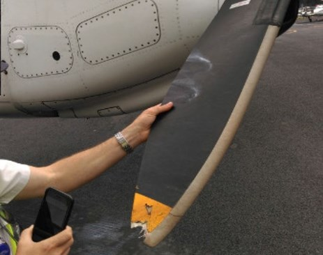Figure 2: Left engine propeller showing damaged blade tip on arrival at Merimbula. Source: Regional Express