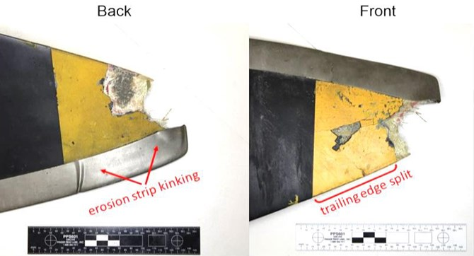 Figure 4: Left propeller blade damage showing tip separation, kinking, crack, and splitting of trailing edge. Source: ATSB