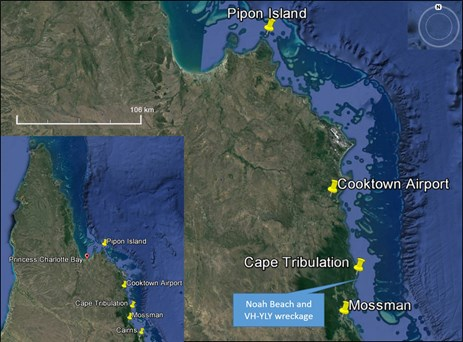 Figure 1: Location of Pipon Island with Cooktown and Mossman destinations showing position of VH-YLY accident site south of Cape Tribulation. The inset shows Cape Tribulation relative to far north Queensland.