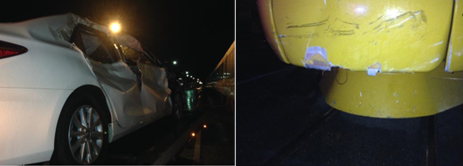 Figure 1: Vehicle and train front cowling damage