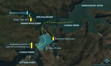 Figure 1: Cottage Point area, standard flight path and accident location