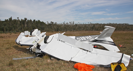 Figure 1: The Airplane Factory Sling 4 amateur-built aircraft, registered VH-BEG. The figure shows the wreckage of VH-BEG after emergency services had attended. Source: Queensland Police
