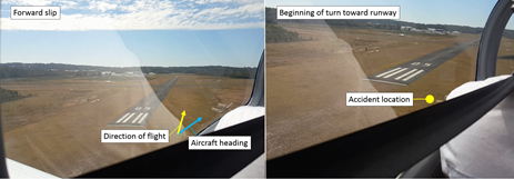 Figure 2: Images from video footage. The figure shows images of the aircraft during the approach prior to the accident. The aircraft is shown in a forward slip (left) and at the beginning of the turn toward the runway 05 threshold (right). Source: Passenger, annotated by ATSB