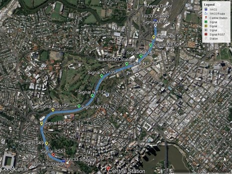 Figure 1: Train 1W33 route from Mayne depot to Roma Street Station, Brisbane, Queensland