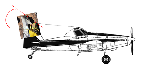Figure 5: Side view of an AT-802 aircraft with superimposed tail and rudder showing angled crush damage