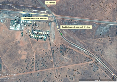 Figure 1: Aerial view of Cobb Highway level crossing and road approaches. Source: Google Earth, annotated by ATSB