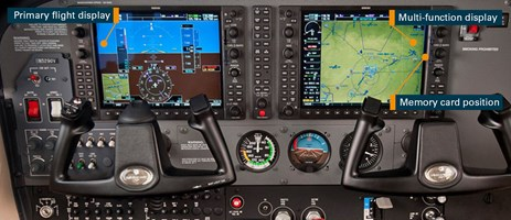 Figure 4: Exemplar cockpit layout showing G1000 avionics system, with primary flight display (left), multi-function displays (right) and memory card position. Source: Cessna Aircraft Company, modified by the ATSB