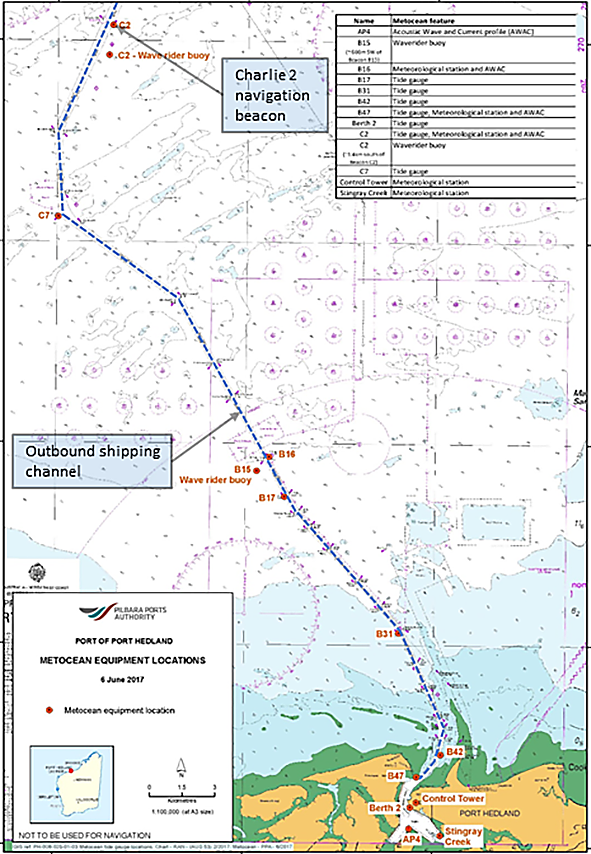 Figure 1: Map showing Port Hedland, the shipping channel and Charlie 2     Source: Pilbara Ports Authority, annotated/modified by ATSB.
