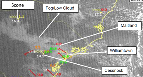 Figure 8: Satellite imagery showing a band of fog and low cloud at 0700. Source: Bureau of Meteorology