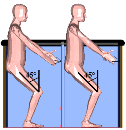 Figure 9: Landing position – knees bent and holding onto handles. Source: Kavanagh Balloons