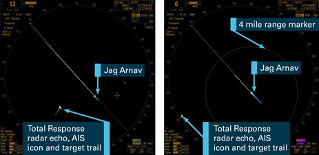 Figure 4: Images of Jag Arnav's s-band (L) and x-band (R) radars at 1103. The images show Jag Arnav's s-band radar set on a 12 NM range scale and the x-band radar set on a 6 NM range scale.  Source: Jag Arnav's voyage data recorder (VDR), annotated by the ATSB