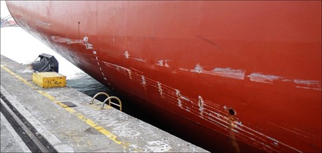 Figure 4: Beijing Bridge showing surface damage to the hull on the starboard side. Source: Australian Maritime Safety Authority (AMSA)