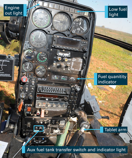 Figure 3: VH-PLY instrument panel. Source: South Australian Police, annotated by ATSB