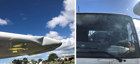 Figure 1: Damage post incident, to the Cessna 172N and fuel truck. Source: Pilot in Command