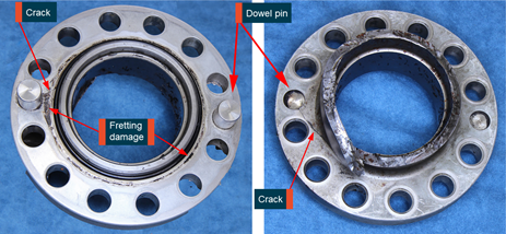 Figure 4: Separated shaft section in their as-received condition. Image shows that cracking was observed near one of the dowel pins and the fretting discolouration observed on the propeller side of the flange. Source: ATSB