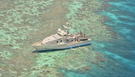 Figure 6: ABFC Roebuck Bay aground on Henry Reef. Source: Australian Border Force