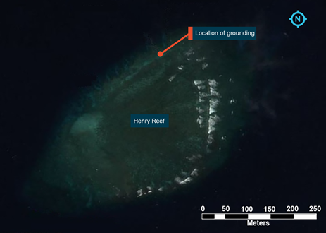 Figure 8: Aerial image of Henry Reef. Source: Great Barrier Reef Marine Park Authority, modified by the ATSB