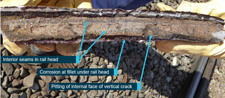 Figure 10: Railhead section detailing interior seam of inclusions/imperfections. Source: ATSB