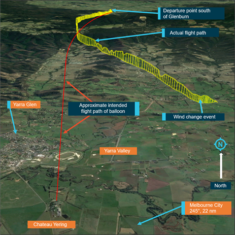 Figure 1: VH-EUA's approximate intended track (red) and actual flight path (yellow). Source: Background image Google Earth; annotated by ATSB.