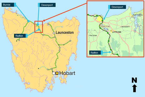 Figure 2: Map of TasRail Network. Image shows location of Railton with respect to Devonport within the TasRail network.  Source: TasRail and ARA Railways of Australia 2014, annotated by ATSB.