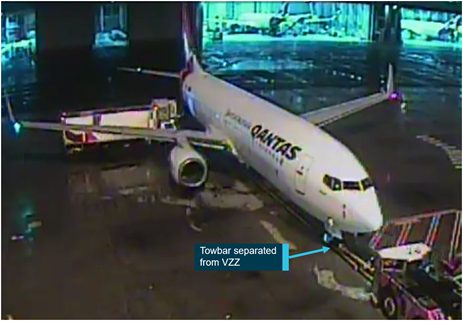 Figure 2: The catering truck behind the aircraft's wing when the towbar separated. Source: Qantas, annotated by the ATSB