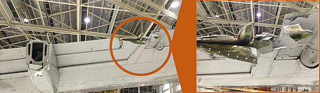 Figure 4: Damage to the aircraft's right wing. Source: Qantas, annotated by the ATSB