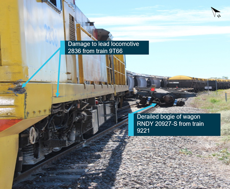 Figure 2: Damage to locomotive 2838 and wagon RNDY 20927-S. Source: Queensland Rail annotated by ATSB