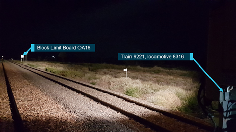 Figure 4: Stopping location of train 9221 relative to limit of authority. Source: Pacific National annotated by ATSB