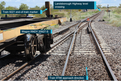 Figure 5: Stopping location of wagon RNDY 20927-S relative to the adjacent track. Image taken post collision of  the re-railing of wagon RNDY 20927 illustrating the location of the wagon relative to the adjacent track and trailable point at the Western end of the Oonoomurra crossing location. Source: Queensland Rail annotated by ATSB