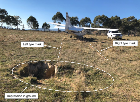 Figure 2: Final position of aircraft including ground depression struck. Source: Copyright owner annotated by ATSB