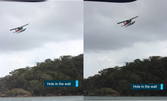 Figure 3: Witness photographs showing the aircraft turning near the Hole in the Wall. Source: Image provided by witness captured at ≈15:12:13 (IMG_3244.JPG, IMG_3245.JPG), annotated by the ATSB