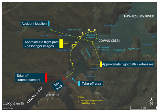 Figure 4: Cottage Point area, established flight path and accident location. Source: Google earth, modified by the ATSB from passenger images and witness interviews