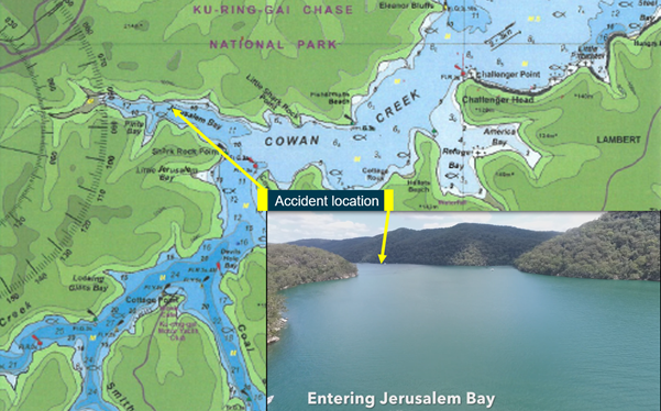 Figure 5: Cottage Point area with Jerusalem Bay entry viewed from Cowan Creek. Source: CAMTAS International P/L (map), NSW Police Force (inset), annotated by ATSB