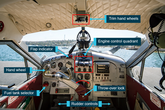 Figure 7: VH-NOO cockpit showing the aircraft system controls. Source: Sydney Seaplanes, annotated by the ATSB