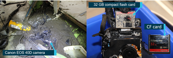 Figure 9: Passenger camera as found in the aircraft (left) and CF card removal (right). Source: ATSB