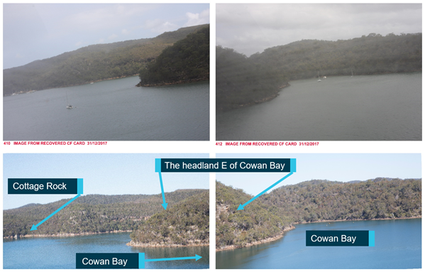 Figure 12: Comparison photographs for CF card images 410 (looking right) and 412 (looking forward). Source: NSW Police Force, annotated by ATSB