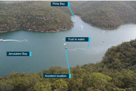 Figure 15: VH-NOO accident location in Jerusalem Bay. Source: NSW Police Force, annotated by the ATSB