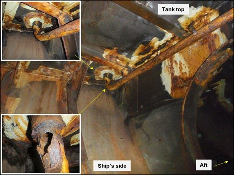 Figure 3: Scupper pipe in after peak tank showing corroded and holed elbow. Source: CSL Limited, annotated by ATSB