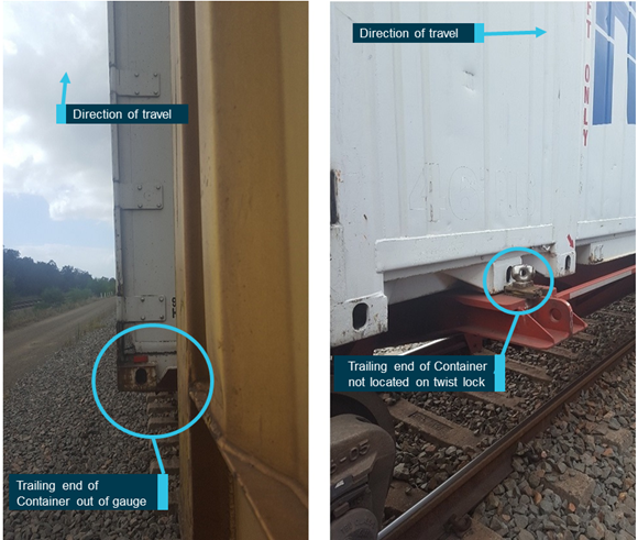 Figure 3: Out of gauge container MGCU7810161 placed on wagon PQQY50015. The left Image shows out of gauge Container MGCU7810161 on wagon PQQY50015. The right image shows the miss-located twist lock. Photos taken at Hexham siding NSW, shortly after collision. Source: SCT, annotated by ATSB.