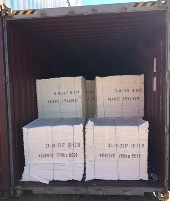 Figure 13: Paper bundles loaded in the 40-foot container. Source: Qube Logistics