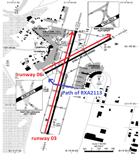 Figure 2: Perth Airport taxiway map with RXA2113 route highlighted in blue. Source: Adapted from Airservices Australia, annotated by ATSB.