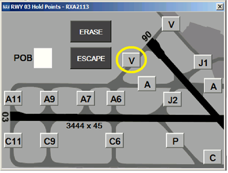 Figure 4: Hold point selection panel in ATC system for runway 03 departures (Hold point V highlighted by ATSB). Source: Adapted from Airservices Australia, annotated by ATSB