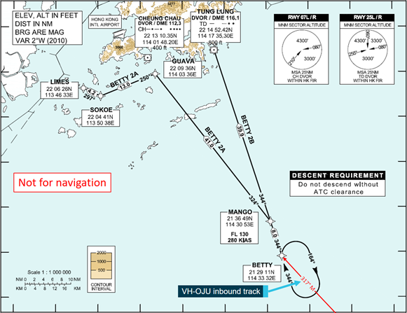 Figure 1: BETTY 2A standard arrival route chart extract. The figure shows the position of the BETTY hold along with the inbound track of VH-OJU. Source:  Hong Kong CAD, annotated by ATSB