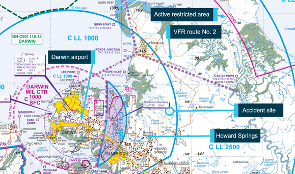 Figure 1: Darwin Airport and pertinent features on the visual terminal chart. Source: Airservices, annotated by ATSB