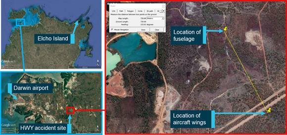 Figure 6: The accident site and location of fuselage and wings. Source: Google Earth, modified by ATSB