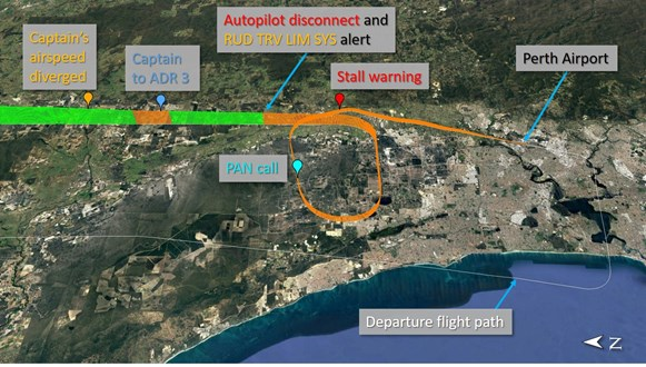 Figure 4: Descent and approach flight path into Perth with key points identified