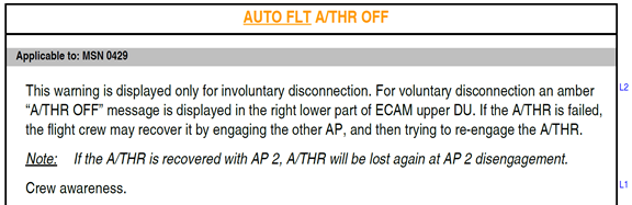 Figure B1: FCOM procedure – Autoflight autothrust off