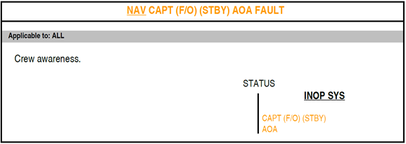 Figure B5: FCOM procedure – Navigation captain, first officer, or standby, angle of attack (AOA) fault