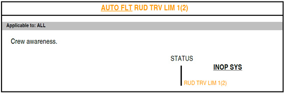 Figure B8: FCOM procedure – Auto flight rudder travel limiter 1 (or 2)