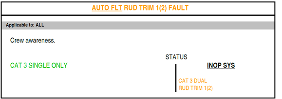 Figure B9: FCOM procedure – Auto flight rudder trim 1 (or 2) fault